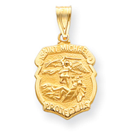 14K Gold Saint Michael Medal Badge Pendant
