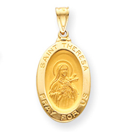14K Gold Saint Theresa Medal Pendant