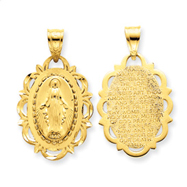 14K Gold Blessed Mother With Hail Mary Prayer Pendant