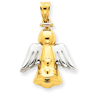 14K Gold & Rhodium Angel Pendant