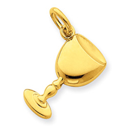 14K Gold Satin & Polished Chalice Pendant