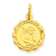14K Gold Satin & Polished Angel Charm