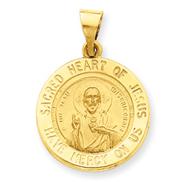 14K Gold Sacred Heart of Jesus Medal Round Pendant