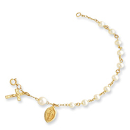 14K Gold 4.0-4.5mm Cultured Pearl Rosary Bracelet