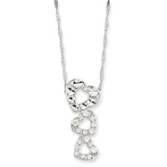 "14K White Gold 17"" Diamond-cut Polished 3-Heart Pendant Necklace"