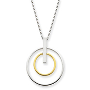 "14K Two-Tone 17"" Double Circle Pendant Necklace"