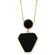 """14K Gold 16"""" Fancy Onyx Necklace"""