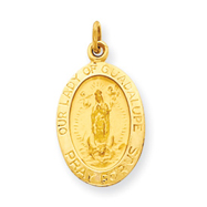14K Gold Our Lady Of Guadalupe Medal Charm