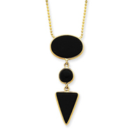 "14K Gold 16"" Fancy Onyx Necklace"