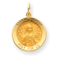 14K Gold Saint Theresa Medal Charm