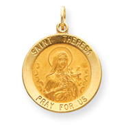 14K Gold Saint Theresa Medal Charm