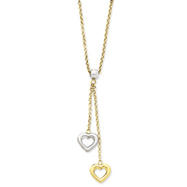 14K Two-Tone Gold Fancy Two Hearts Necklace