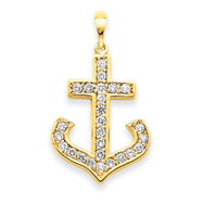 14K Gold AA Diamond Cross Pendant