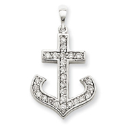 14K White Gold AA Diamond Cross Pendant