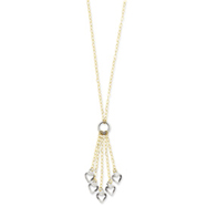 14K Two-Tone Adjustable Heart Drop Necklace