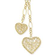 14K Gold Adjustable Heart Drop Necklace