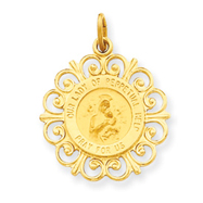 14K Gold Our Lady of Perpetual Help Medal Charm