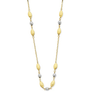 14K Two-Tone Gold Adjustable Puff Rice & Mirror Bead Necklace