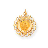 14K Gold Saint Anne Medal Charm