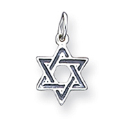 Sterling Silver Antiqued Star of David Charm