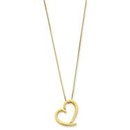 14K Gold Fancy Polished Heart Necklace