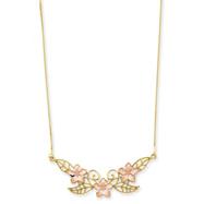 14K Two-Tone Gold Fancy Plumeria Necklace
