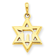 14K Gold Solid Polished Chai in Star of David Charm