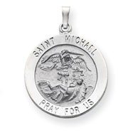 14K White Gold Saint Michael Medal Pendant