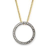 14K Two-Tone Gold Diamond-cut Circle Necklace