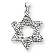 Sterling Silver CZ Star of David Pendant