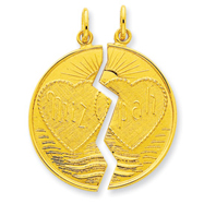 24k Gold-plated Sterling Silver Breakapart Mitzpah Charm