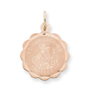 14K Rose Gold Saint Christopher Medal Charm
