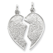 Sterling Silver 2 pc. Heart-shaped Mitzpah