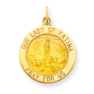 14K Gold Our Lady of Fatima Medal Charm