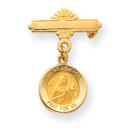 14K Gold Saint Theresa Medal Pin