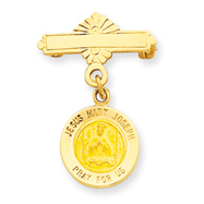 14K Gold Holy Family Medal Pin