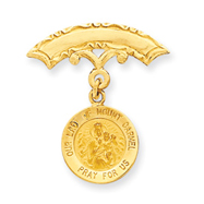 14K Gold Our Lady of Mount Carmel Medal Pin