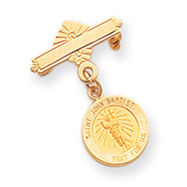 14K Gold Saint John the Baptist Medal Pin