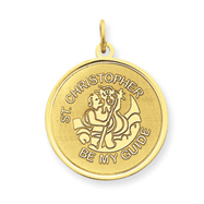 14K Gold Saint Christopher Medal Charm
