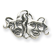 Sterling Silver Antiqued Comedy/Tragedy Pin