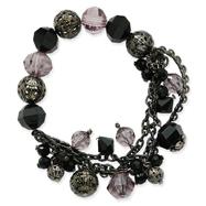 Black-Plated Jet Black & Smoke Crystal Beaded Stretch Bracelet