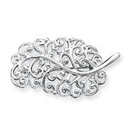 Sterling Silver Filigree Leaf Pin