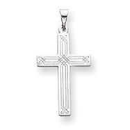 14k White Gold Solid Cross Pendant