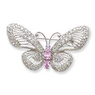 Sterling Silver Pink and Clear CZ Butterfly Pin