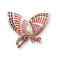 Sterling Silver Pink Enameled lnsect Pin