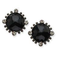 Black-Plated Faceted Jet Black Crystal Round Leverback Earrings