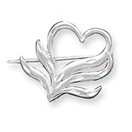 Sterling Silver Satin Finish Diamond Cut Heart Pin
