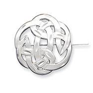 Sterling Silver Satin Finish Diamond Cut Celtic Knot Pin
