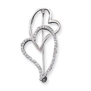 Sterling Silver CZ Heart Pin