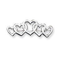 Sterling Silver Satin Finish Diamond Cut Five Heart Pin
